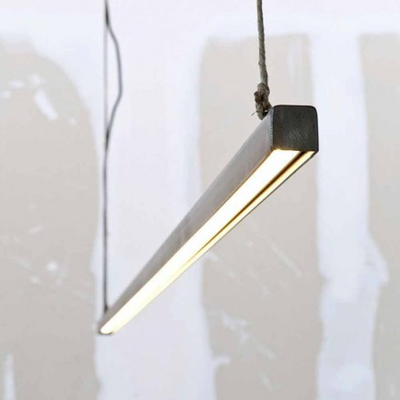 Hanglamp in ijzer en touw met geïntegreerde LED Made in Italy - Stecca