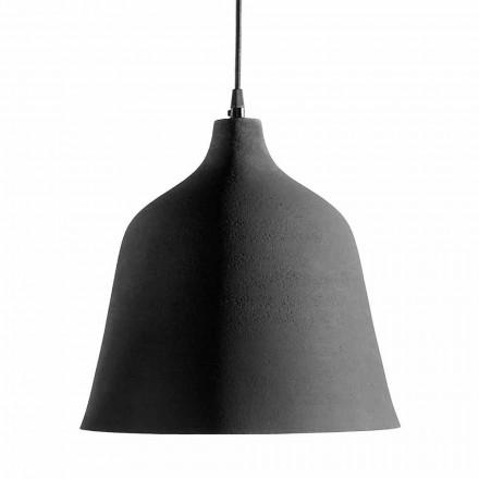 Hanglamp in antraciet steengoed en wit interieur - Edmondo