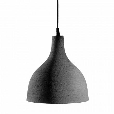 Hanglamp in antraciet steengoed en wit geëmailleerd interieur - Edmondo