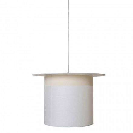 Design hanglamp van wit linnen in cilinder, gemaakt in Italië - magie