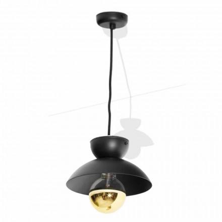 Metalen hanglamp met modern gouden detail Made in Italy - Valta