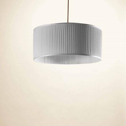 Hanglamp in zijde, grijs, bamboe