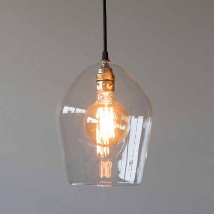 Hanglamp van glas en ijzer met katoenen kabel Made in Italy - Bisma