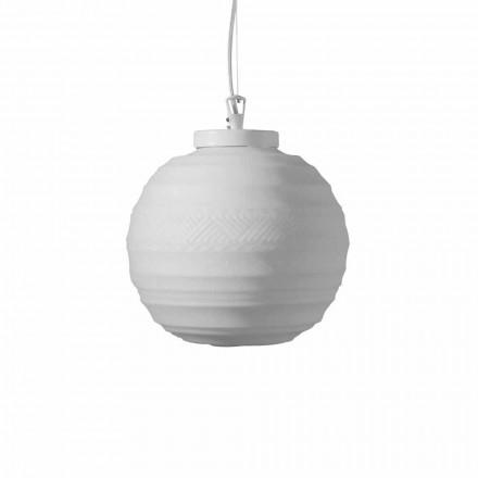 Hanglamp in wit satijnglas in 2 designformaten - Morse