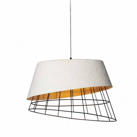 Hanglamp in wit glasvezel en metaal Elegant design - Solar