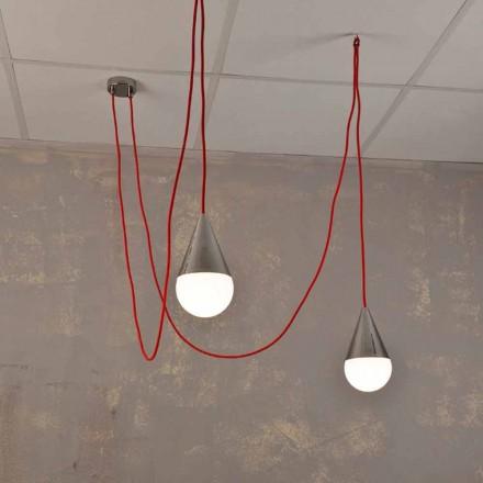 Moderne hanglamp met 2 lampen met rode Chrome-kabel