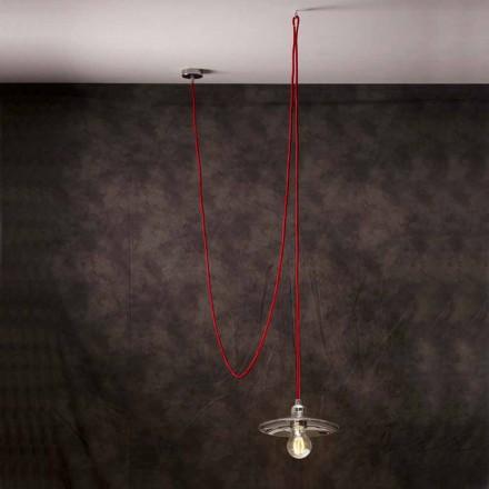 Moderne hanglamp met rode Chrome-zijdekabel