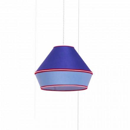 Moderne hanglamp met blauwe katoenen lampenkap Made in Italy - Soja