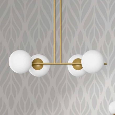 Moderne hanglamp in metaal en wit glas gemaakt in Italië - Carima