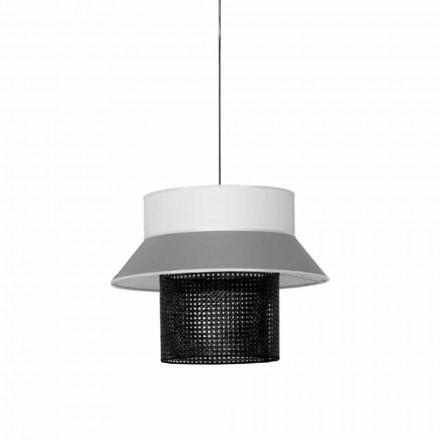 Moderne hanglamp in stof en rotan Made in Italy - Sailor