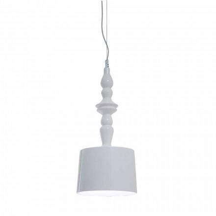Hangende lampenkap kort in wit glanzend keramiek ontwerp - Cadabra