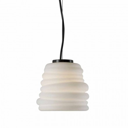 Woonkamer hanglamp in wit satijnglas 3 afmetingen - zacht