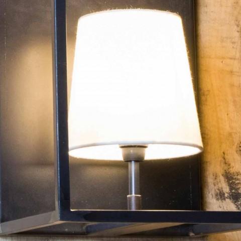 Artisanale wandlamp in zwart ijzer met 2 lampenkappen Made in Italy - Tower