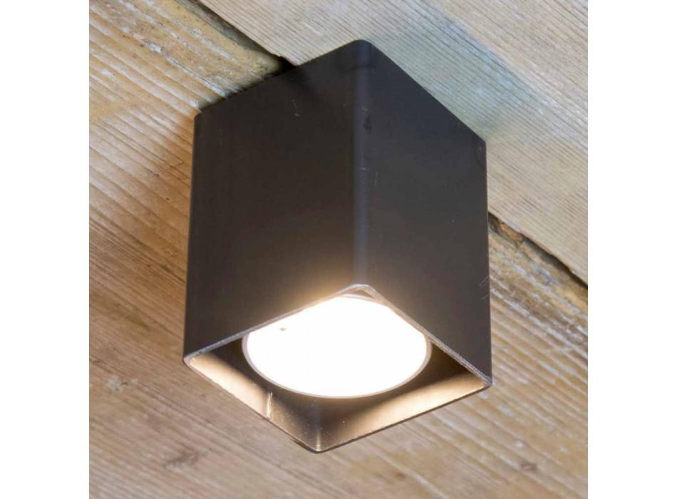 Ambachtelijke lamp in zwart ijzer met kubieke vorm Made in Italy - Cubino
