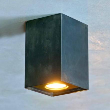 Kubieke lamp in zwart ijzer met matte lassen Made in Italy - Cubino