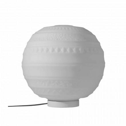 Moderne tafellamp in wit satijnglas en metaal - Morse