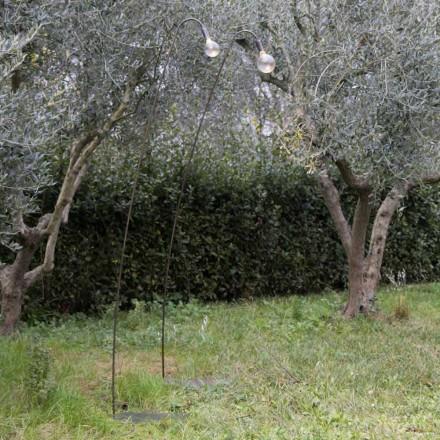 Artisanale buitenlamp van ijzer en decoratief glas gemaakt in Italië - Beba