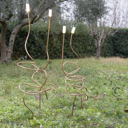 Buitenlamp in natuurlijk koper met decoratief glas Made in Italy - Fusillo