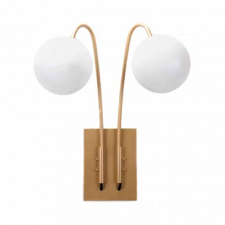 Handgemaakte wandlamp van ijzer en satijnglas Made in Italy - Grinta