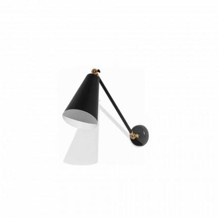 Metalen wandlamp met details in goudkleurige afwerking Made in Italy - Zaira