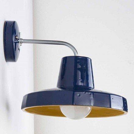 Moderne wandlamp in Toscaanse maiolica en messing, Rossi - Toscot