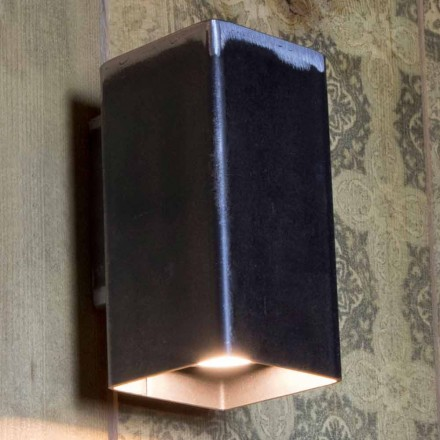 Handgemaakte vierkante wandlamp in zwart ijzer Made in Italy - Cubino