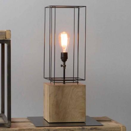 Handgemaakte ijzeren tafellamp met houten voet gemaakt in Italië - olijfboom