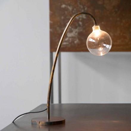 Handgemaakte ijzeren tafellamp met gouden afwerking gemaakt in Italië - Ribolla