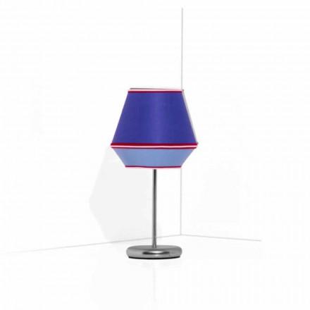 Blauwe tafellamp met verchroomde metalen structuur Made in Italy - Soja