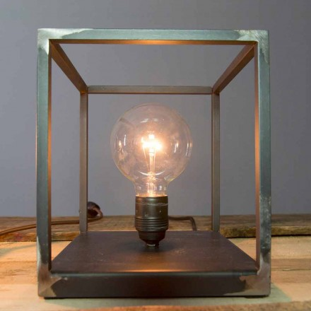 Tafellamp met artisanale ijzeren structuur Made in Italy - Cubola