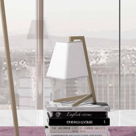 Tafellamp met structuur in metaal en stof Made in Italy - Barton