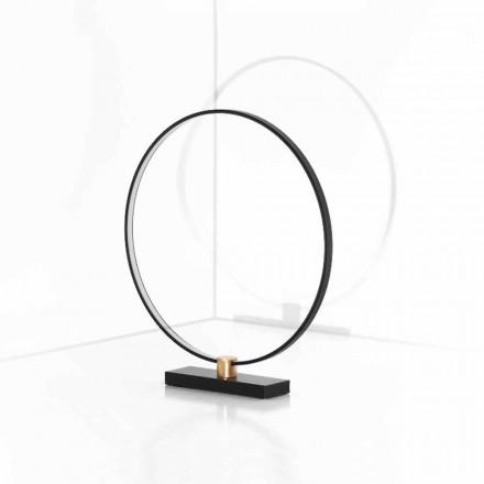 Design tafellamp in zwart aluminium en messing Made in Italy - Norma