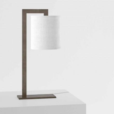 Design tafellamp in metaal en wit linnen Made in Italy - Bali