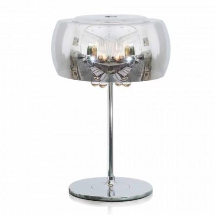 Design tafellamp in glas, kristal en verchroomd metaal - Cambria