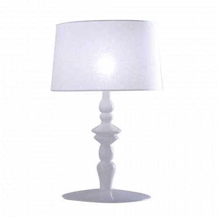 Tafellamp in witte keramiek en linnen lampenkap 2 afmetingen - Cadabra