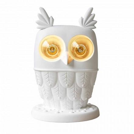 Tafellamp in Mat Wit Keramiek 2 Lichts Modern Design Uil - Uil