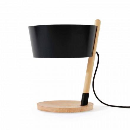 Tafellamp van beukenhout met details van metaal en veganistisch leer - Avetta