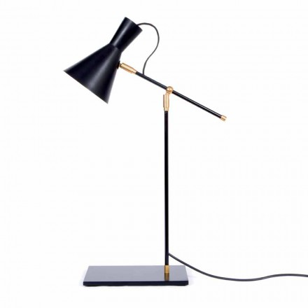 Tafellamp in ijzer en aluminium matzwarte kleur Made in Italy - Malita