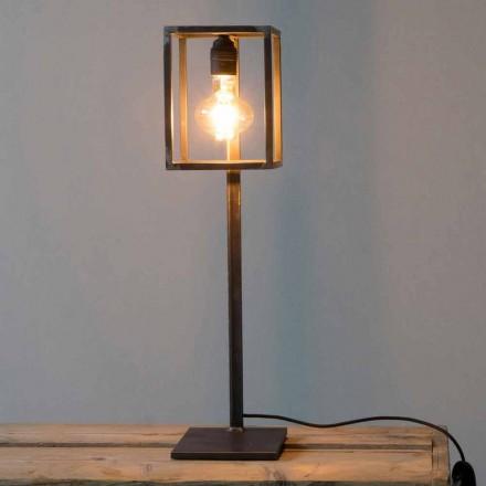 Zwart ijzeren tafellamp met katoenen kabel Made in Italy - Uniek