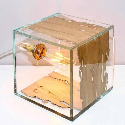 Tafellamp in Venetië briccola-hout en Cà d'oro-glas