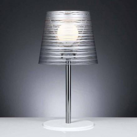 Moderne tafellamp met zilveren decoratie, diameter 30 cm, Shana