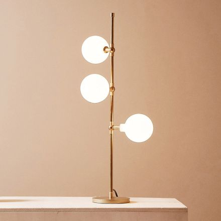 Moderne handgemaakte tafellamp in messing met LED Made in Italy - Grippa