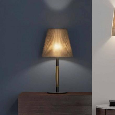 Moderne tafellamp in metaal, hout en organza Made in Italy - Boom