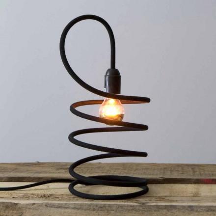 Moderne tafellamp in koper bekleed met katoen Made in Italy - Fusilla