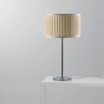 Moderne ivoorkleurige zijden tafellamp Bamboo