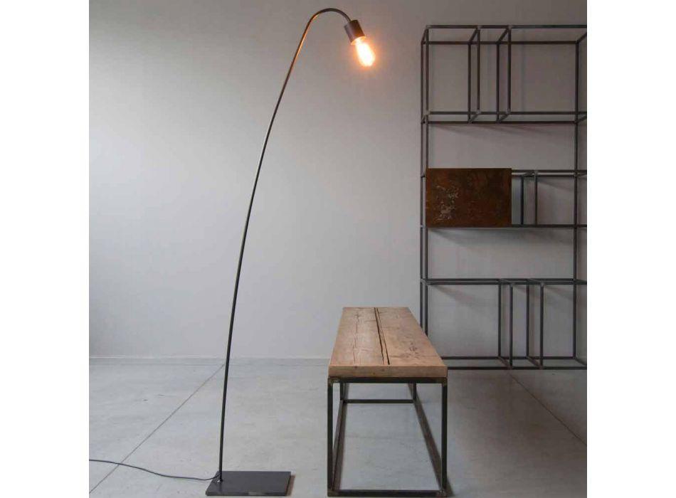 Artisanale design vloerlamp in zwart ijzer Made in Italy - Curva