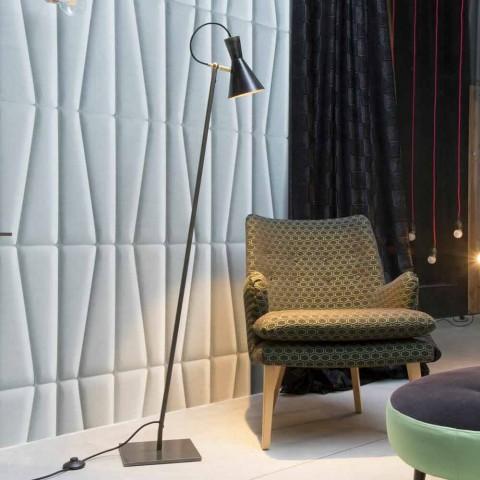 Ambachtelijke vloerlamp in zwart ijzer en aluminium Made in Italy - Brema