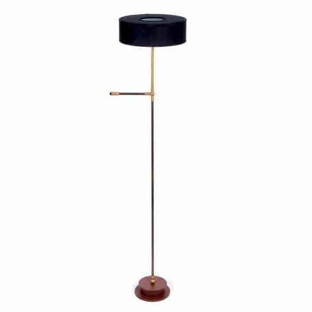 Staande lamp met handgemaakte zwarte linnen lampenkap Made in Italy - Aurelia