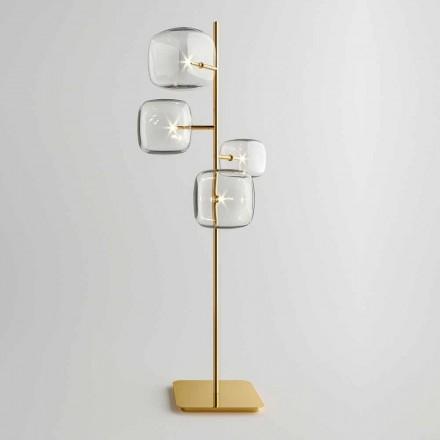 Design vloerlamp met glanzende metalen structuur Made in Italy - Donatina