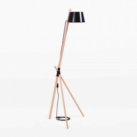 Design vloerlamp in beukenhout en gelakt metaal - Avetta